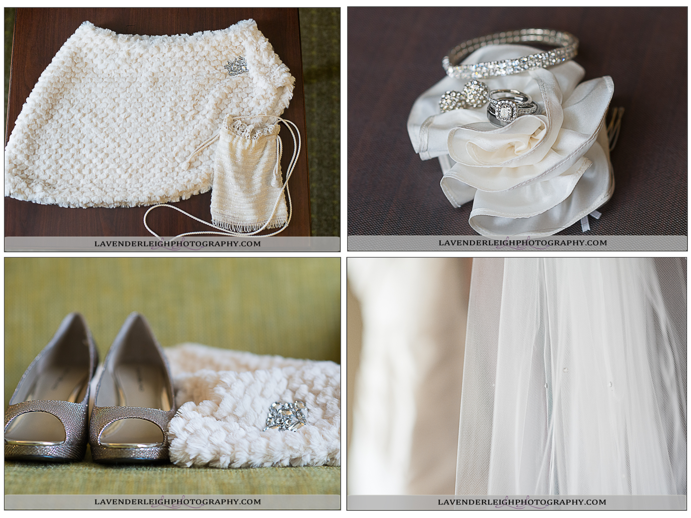 Wedding Details: Shoes, Purse, Rings, Jewelry | Lavender Leigh Photography