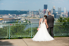 Bride and Groom  West End Overlook   Pink Wedding Bouquets   Holy Innocents Church   Holy Cross Wedding   Pittsburgh Wedding Photographer   Pittsburgh Engagement Photographer   Lavender Leigh Photography