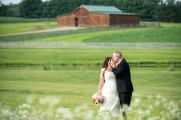 Bride and Groom in Field |Barn | Kiss | Lace Wedding Dress | Maggie Sottero | Ivory | Lingrow Farms | Barn Wedding | Farmhouse Getting Ready Pictures | Pittsburgh Wedding Photographer | Pittsburgh Wedding Photographers | Lavender Leigh Photography | Blog