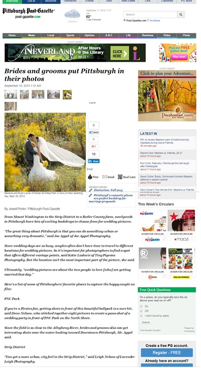 Pittsburgh Post Gazette | Published | Wedding Pictures | Hilltop Park | Strip District | Pittsburgh Wedding Photographer | Pittsburgh Wedding Photographers | Lavender Leigh Photography | Blog