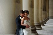 Pittsburgh, wedding, couple, portrait, spring, columns, stone, arthitecture