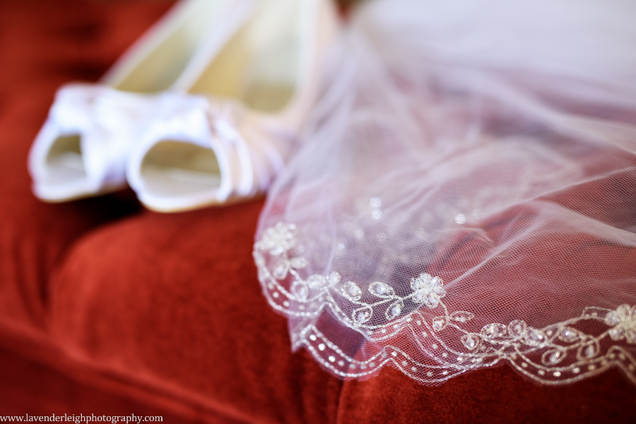Ornate Wedding Veil and Shoes