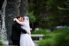 Bride and Groom's Portraits in Mellon Square Park