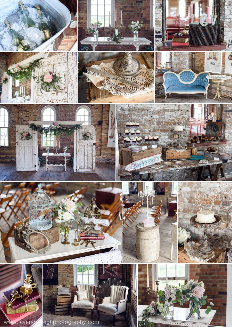 Alter, flowers, bouquet, double doors, vintage chairs, vintage decor, birdcage, keys, love sign, tufted chairs, garland, romantic, candelabras, barrels, Lavender Leigh Photography, Pop Up Pittsburgh Wedding Company, Vintage Alley Rentals