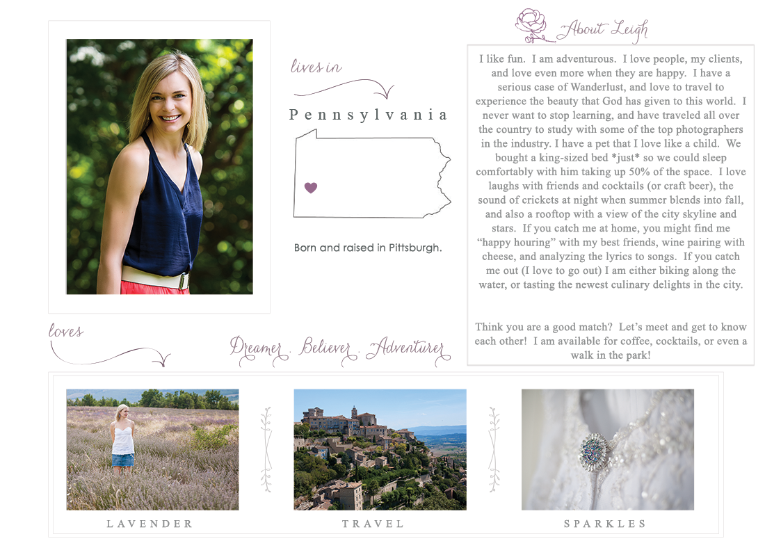 A page dedicated to you getting to know Lavender Leigh Photography
