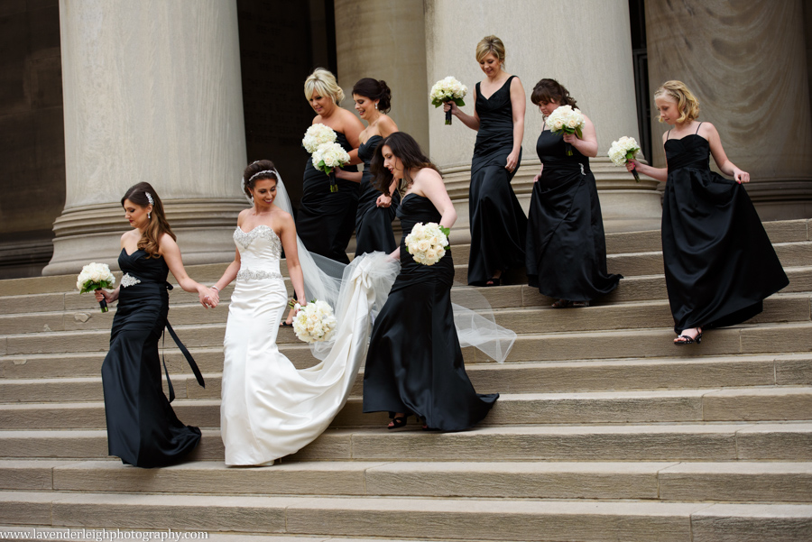 bride, bridesmaids, mellon institute, lavender leigh photography, pittsburgh, pennsylvania, wedding, photographer, picture