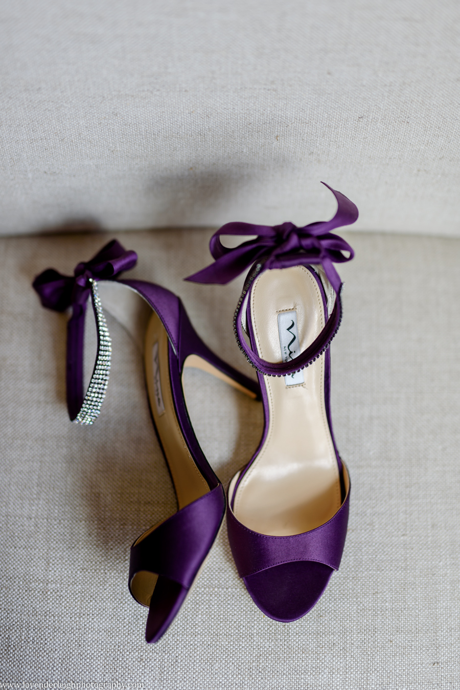 Purple Satin Wedding Shoes by Lavender Leigh Photography