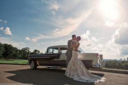 Bride, Groom, and a Purple 1950s Chevy at Schenley Park in Pittsburgh, Pennsylvania