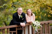 Bride and Groom on Bridge at the Pittsburgh Botanic Garden