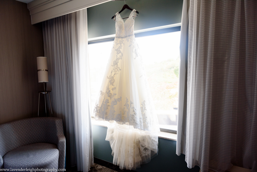 Wedding Dress hanging in window in Greensburg, Pennsylvania