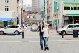 A modern engagement session in the city of Pittsburgh.