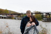 An engagement session at Ohiopyle State Park in the fall.